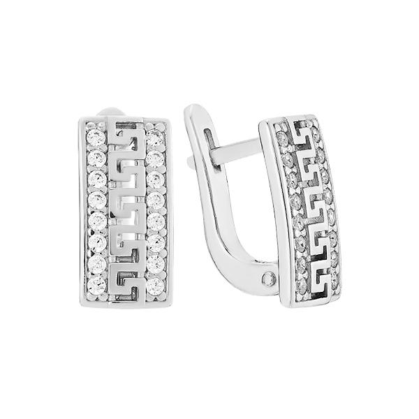 Сережки срібні фантазія з розсипом (СВ1262)