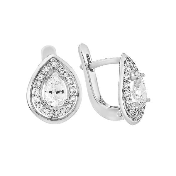 Сережки срібні фантазія з розсипом (СВ1302)