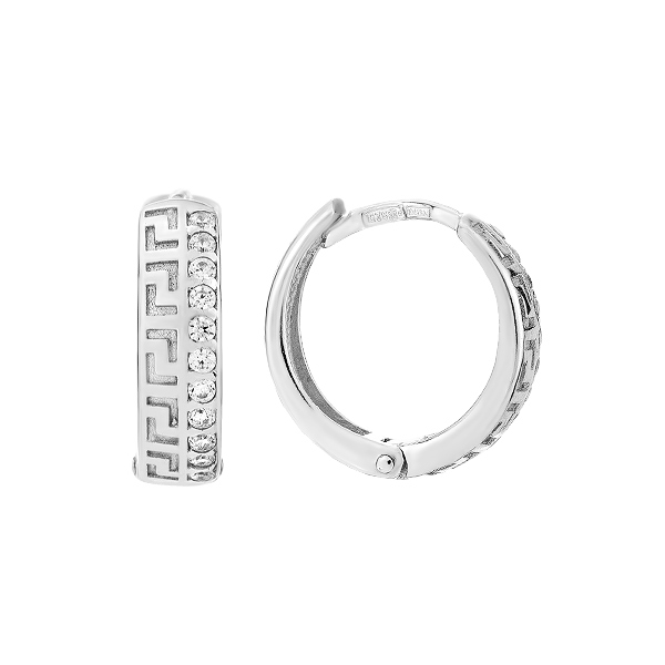 Сережки-кільця (конго) срібні фантазія з розсипом (СВ1384)