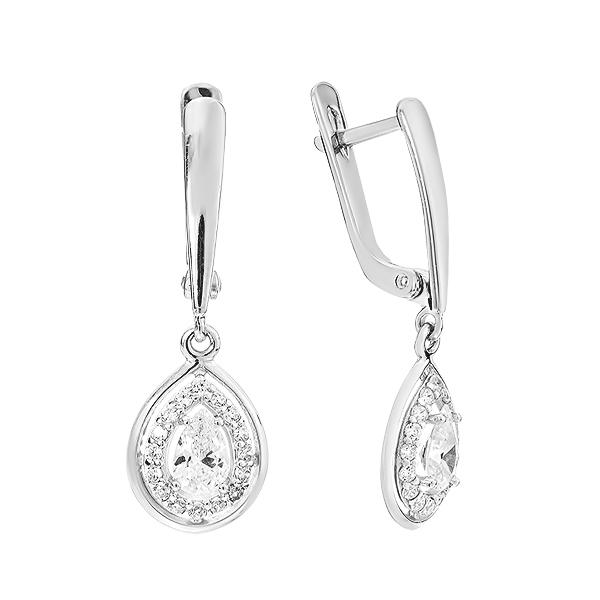 Сережки срібні фантазія з розсипом (СВ1396)