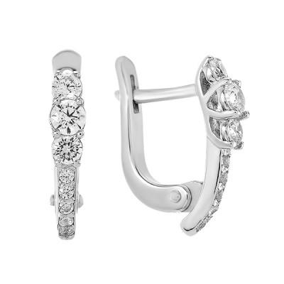 Сережки срібні доріжка з фіанітами (СВ1436)