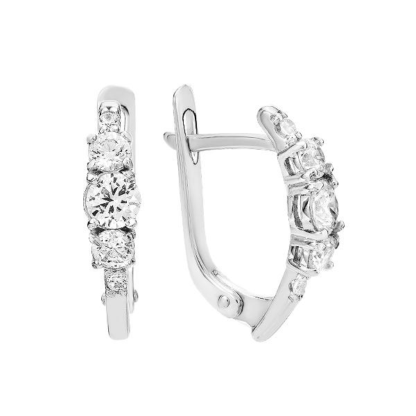 Сережки срібні фантазія з розсипом (СВ1475)