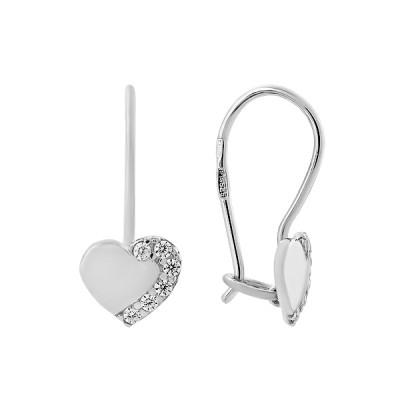Сережки-петлі срібні Серце з фіанітами (СВ1483)