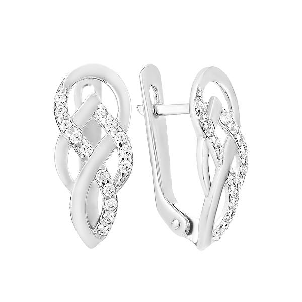 Сережки срібні фантазія з розсипом (СВ1528)