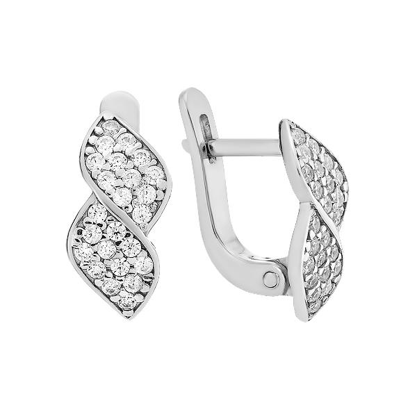 Сережки срібні фантазія з розсипом (СВ1546)