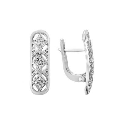 Сережки срібні фантазія з розсипом (СВ1552)