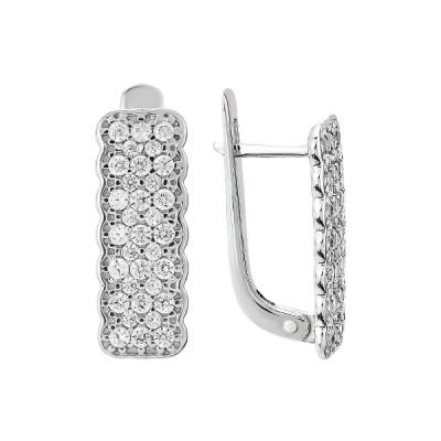 Сережки срібні фантазія з розсипом (СВ1582)