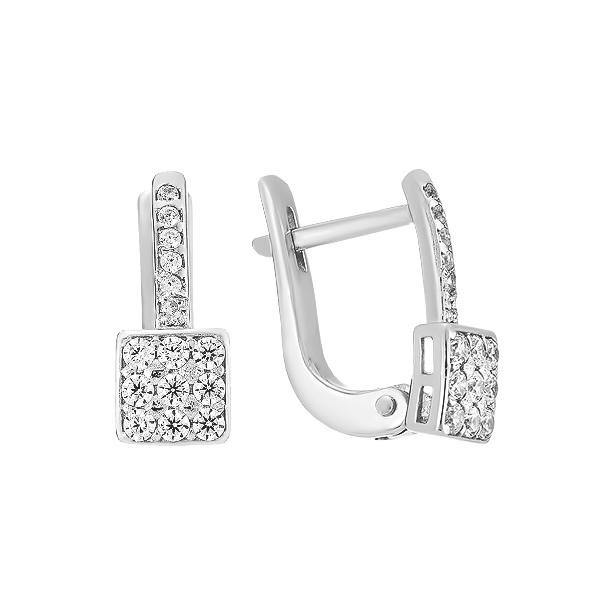 Сережки срібні фантазія з розсипом (СВ1595)
