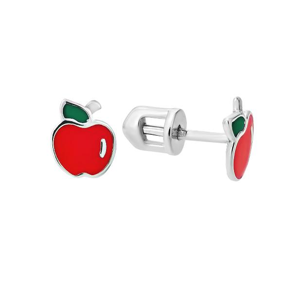 Сережки-пусети (гвоздики) срібні Яблуко з емаллю (СВ1600.8)
