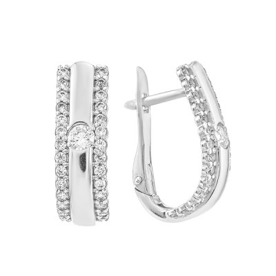 Сережки срібні фантазія з розсипом (СВ1638)