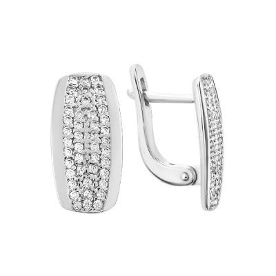 Сережки срібні фантазія з розсипом (СВ1647)
