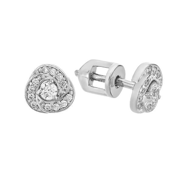Сережки-пусети срібні з розсипом (СВ1655)