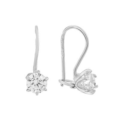 Сережки-петлі срібні з фіанітами (СВ1669)