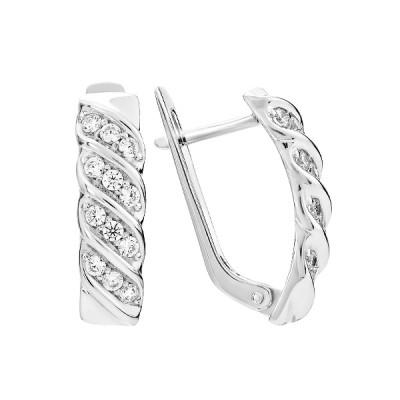 Сережки срібні фантазія з розсипом (СВ1683)
