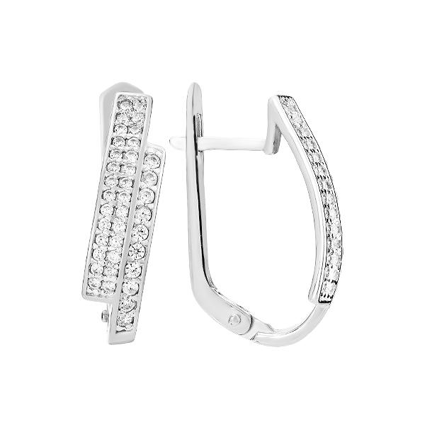 Сережки срібні фантазія з розсипом (СВ1686)
