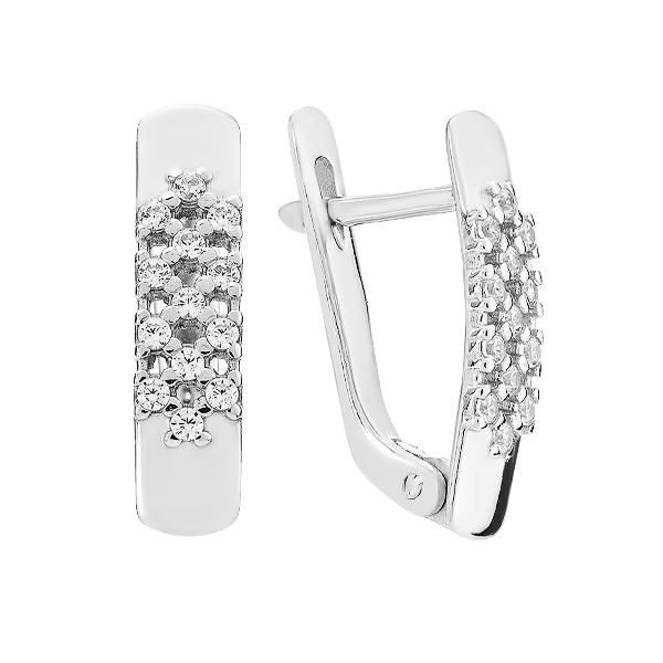 Сережки срібні фантазія з розсипом (СВ1691)