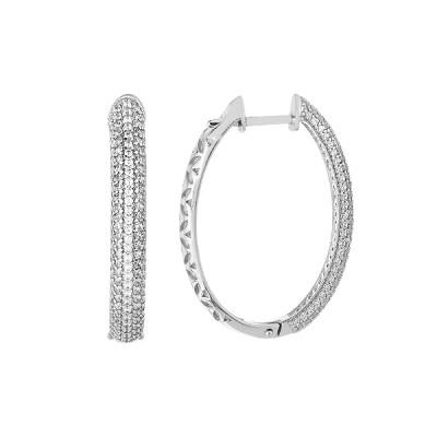 Сережки-кільця (конго) срібні доріжка з фіанітами (СВ1703)