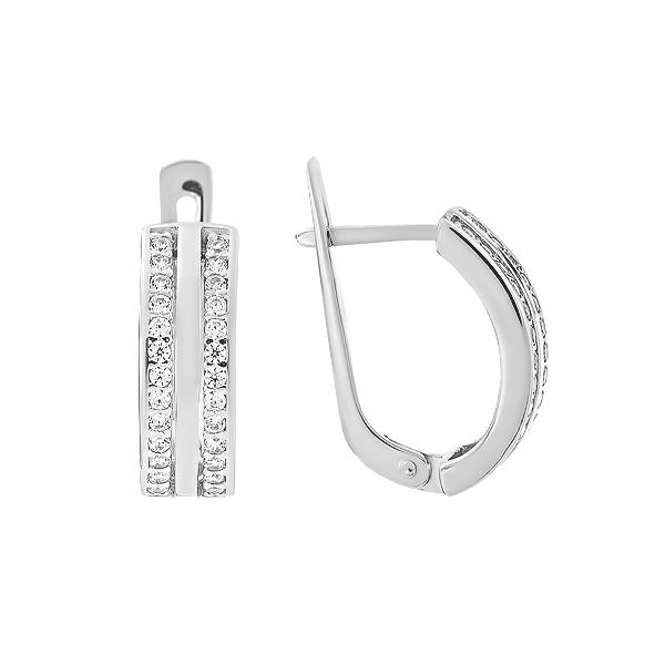 Сережки срібні фантазія з розсипом (СВ1709)