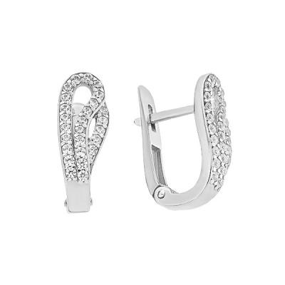Сережки срібні фантазія з розсипом (СВ1710)