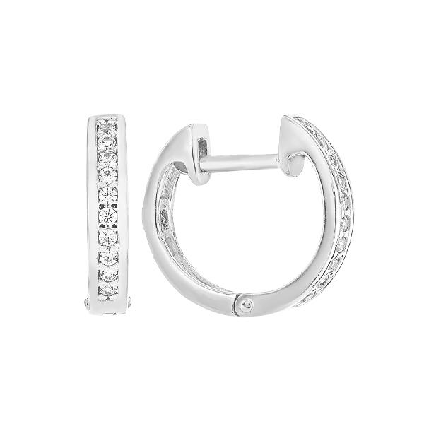 Сережки-кільця (конго) срібні доріжка з фіанітами (СВ1736)