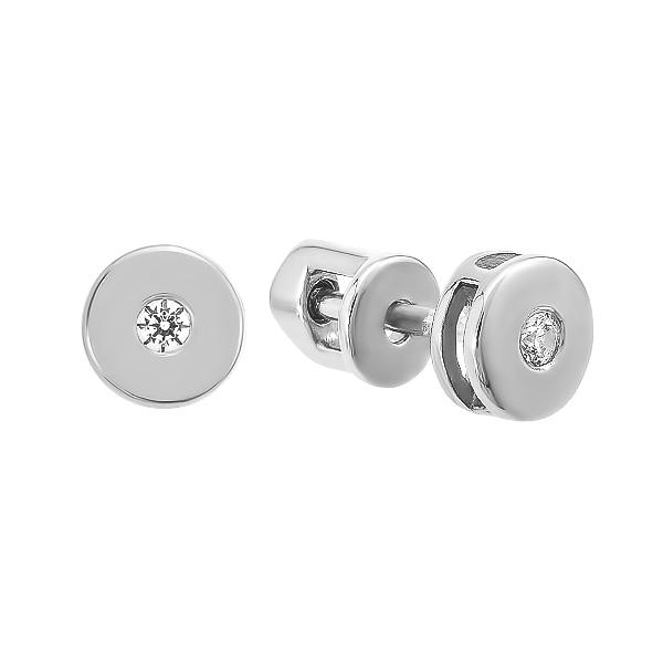 Сережки-пусети (гвоздики) срібні з фіанітами (СВ1741)