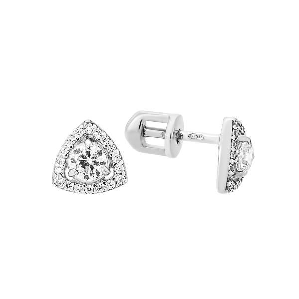 Сережки-пусети (гвоздики) срібні з розсипом (СВ1751)