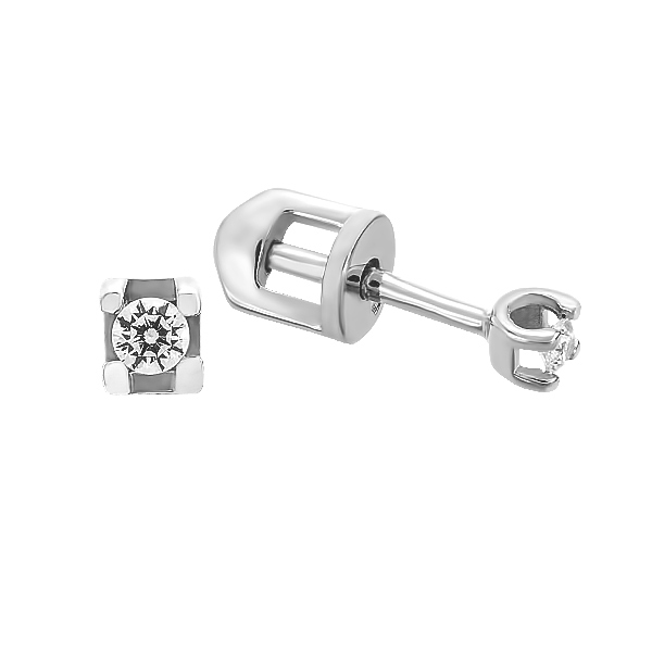 Сережки-пусети срібні з фіанітами (СВ1752)