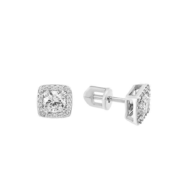 Сережки-пусети (гвоздики) срібні з розсипом (СВ1763)