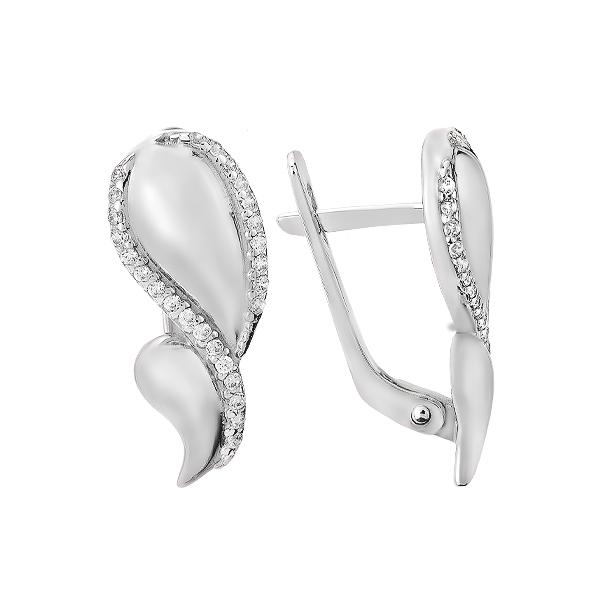 Сережки срібні фантазія з розсипом (СВ1797)