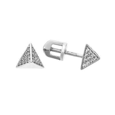 Сережки-пусети срібні з розсипом (СВ1812)