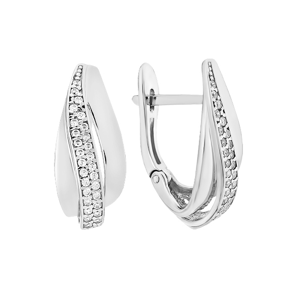 Сережки срібні фантазія з розсипом (СВ1814)