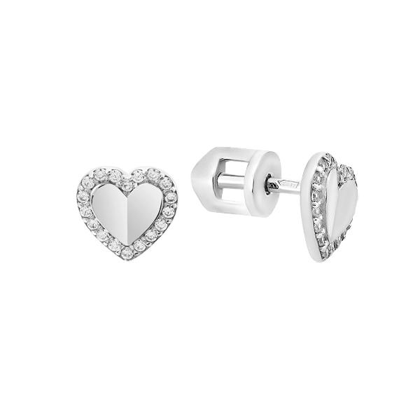 Сережки-пусети (гвоздики) срібні Серце з фіанітами (СВ1832)