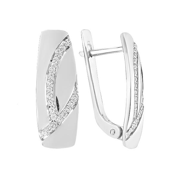 Сережки срібні фантазія з розсипом (СВ1847)