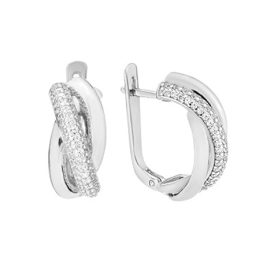Сережки срібні фантазія з розсипом (СВ1852)