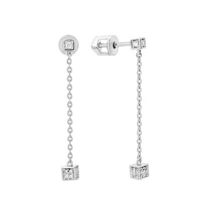 Сережки-пусети срібні з розсипом (СВ1855)