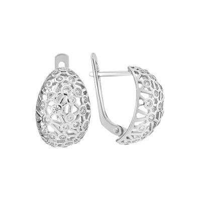 Сережки срібні фантазія з розсипом (СВ1856)