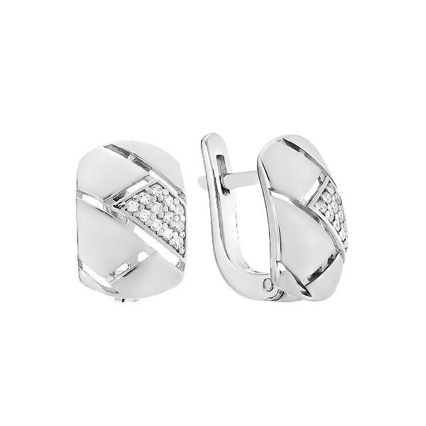 Сережки срібні фантазія з розсипом (СВ1861)