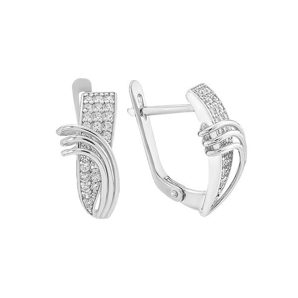 Сережки срібні фантазія з розсипом (СВ1865)