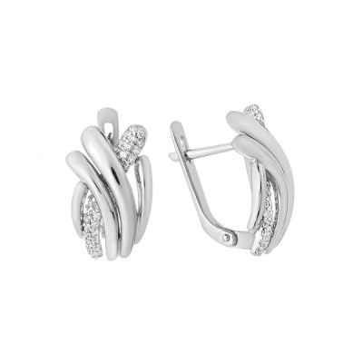 Сережки срібні фантазія з розсипом (СВ1866)