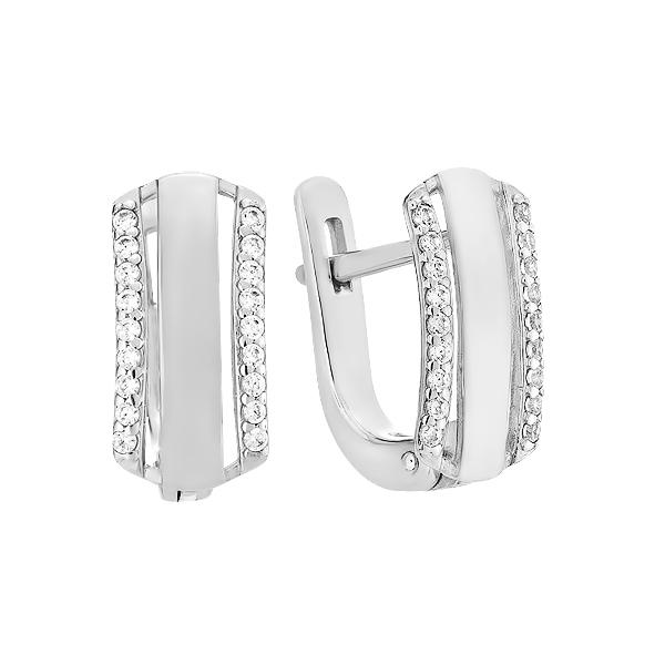 Сережки срібні доріжка з фіанітами (СВ1872)
