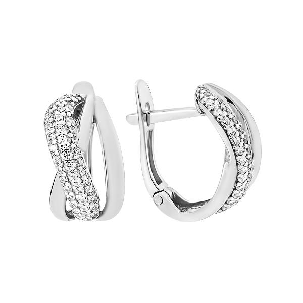 Сережки срібні фантазія з розсипом (СВ1894)