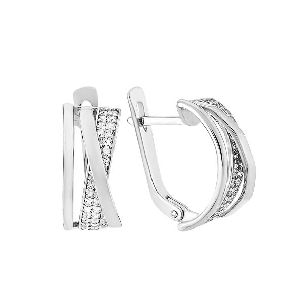 Сережки срібні фантазія з розсипом (СВ1895)