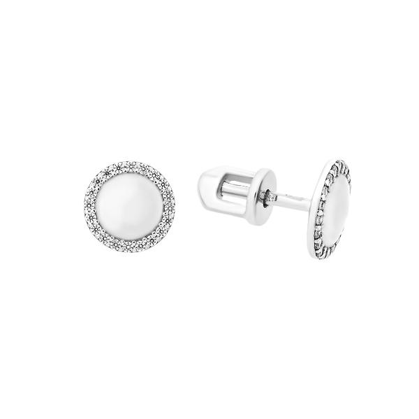 Сережки-пусети (гвоздики) срібні з розсипом (СВ1898)