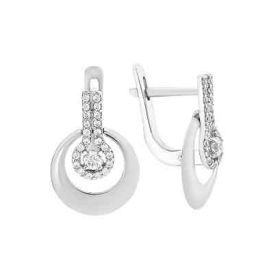 Сережки срібні фантазія з розсипом (СВ1913)