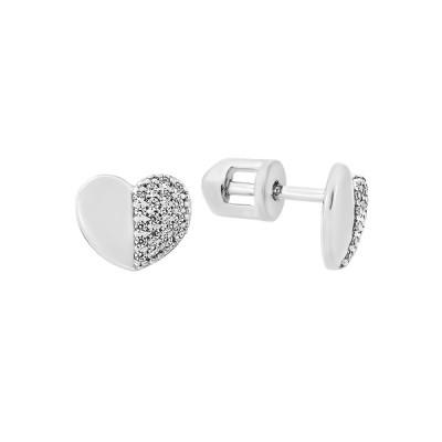 Сережки-пусети срібні Серце з фіанітами (СВ1917)