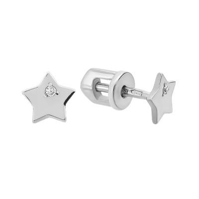 Сережки-пусети (гвоздики) срібні Зірка з фіанітом (СВ1927)