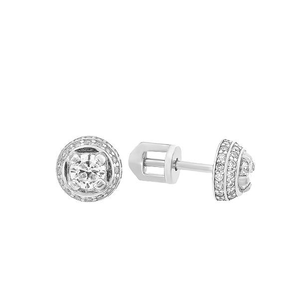 Сережки-пусети (гвоздики) срібні з фіанітами (СВ1953)