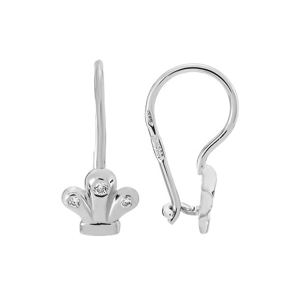 Сережки-петлі срібні Корона з фіанітами (СВ1960)