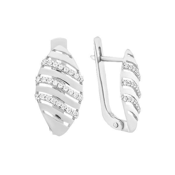 Сережки срібні фантазія з розсипом (СВ1963)