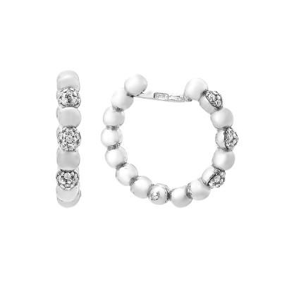 Сережки-кільця (конго) срібні з фіанітами (СВ1998)
